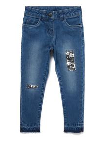 Mid-Wash Denim Sequin jeans