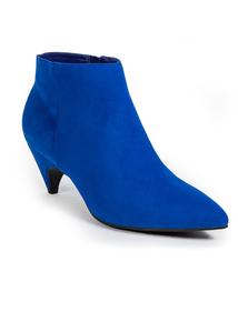 Cobalt Blue Kitten Heel Ankle Boots