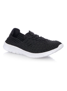 Black Woven Trainers