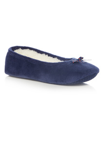 Navy Plain Star Bow Ballerina