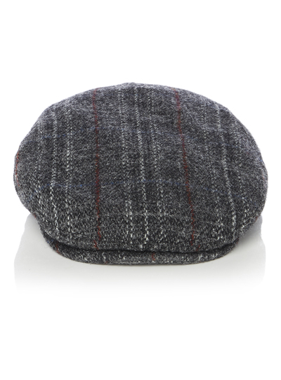 Menswear Grey Harris Tweed Flat Cap  8c2d8d43293f