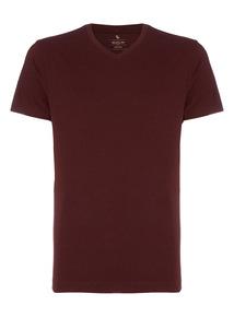 Dark Red Basic V-neck T-shirt