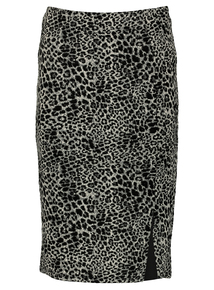 Grey Leopard Print Pencil Pull On Skirt
