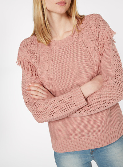 Pale Pink Fringed Cable Knit Jumper