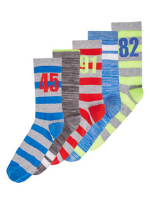 Boys Multicoloured Sports Socks 5 Pack