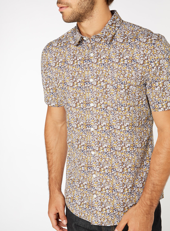 Ochre Ditsy Floral Print Slim Fit Shirt