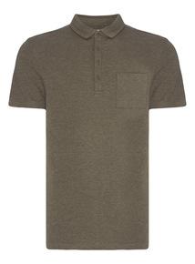 Khaki Button Neck Polo
