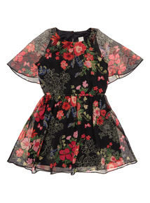 Girls Black Cape Dress (3-12 years)