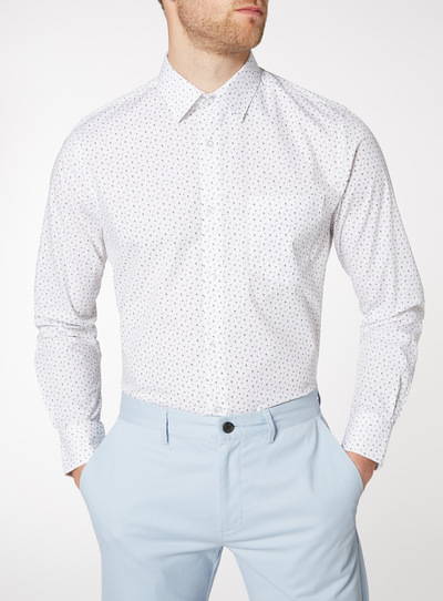 2 Pack Grey And Floral Tailored Fit Shirts