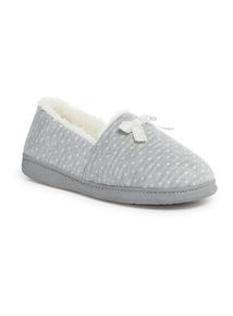 Grey Polka Dot Slippers