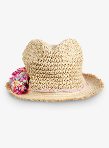 448392ba Multicoloured Pom-Pom Crushable Straw Hat (1-13 Years)