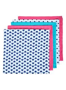 Baby Girls Pink Muslin Squares 5 Pack