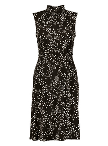 Online Exclusive Monochrome Spotted Jersey Sleeveless Dress