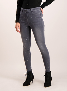 Grey Denim Diamante Skinny Jeans