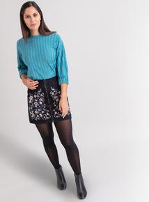 Premium Black Floral Embroidered A-Line Skirt