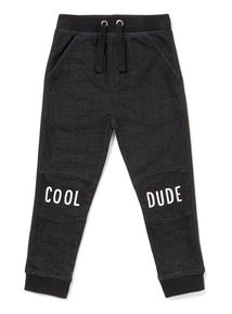 Black Acid Wash Knee Print Joggers (9 months-6 years)