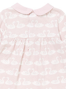 Pink Swan Dress and Leggings Set (0-24 months)