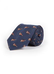 Online Exclusive Navy Fox Print Tie