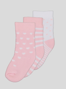 Pink Terry Socks 3 Pack (1 - 24 months)