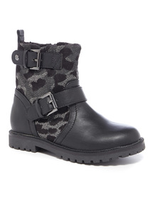 Leopard Print Biker Boot (6 Infant - 4)