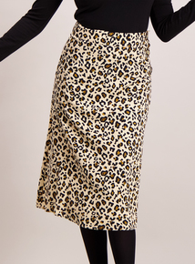 Beige Button Detail Leopard Print Midi Skirt