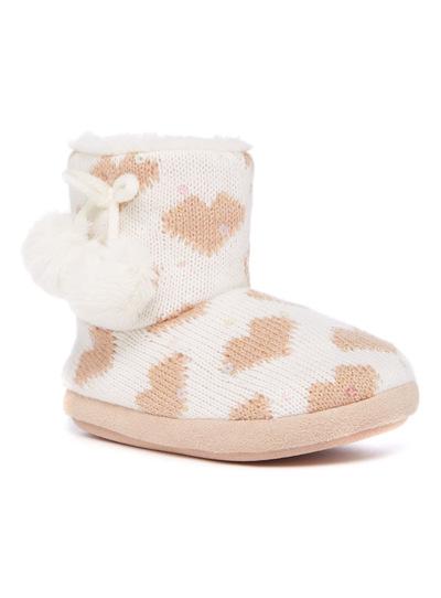 Heart Print Boot Slippers