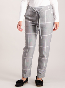 PETITE Grey Check Tapered Leg Trousers