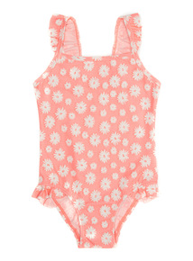 Pink Flower Puff Print Swimsuit (1 - 12 years)