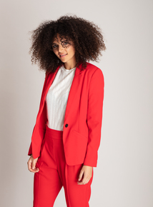 Red Drapey Suit Jacket