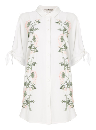 Cream Embroidered Floral Shirt
