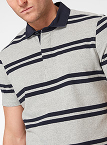 Grey Striped Polo Shirt