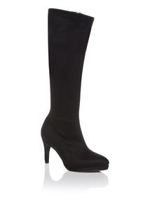Black Mid-calf Heeled Boots