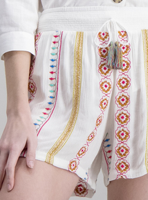 f2aa93cc2 Cream Embroidered Tassel Shorts