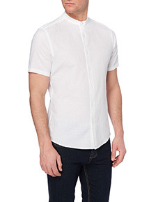 White Slim Linen Grandad Shirt