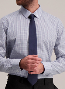 Blue Check Shirt With Navy Tie Set