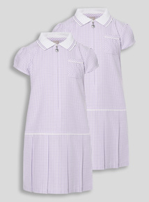 2 Pack Lilac Sporty Gingham Dresses (3-12 years)
