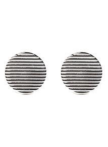 Silver Circular Brushed Cufflinks