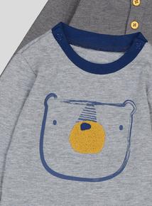 Grey Bear Print Bodysuits 2 Pack (0-18 months)