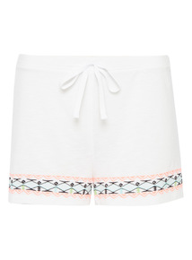 White Embroidered Shorts