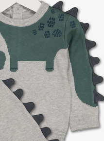 Green Knitted Dinosaur Set (0-24 months)