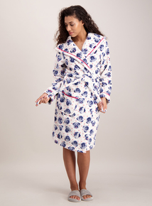 Cream Pug Print Dressing Gown