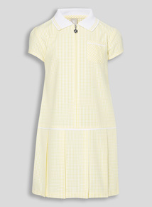 Girls Yellow Sporty Gingham Dress (3 - 12 years)