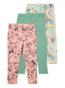 3 Pack Multicoloured Gardener Printed Leggings (9 months-6 years)