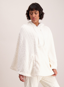 Cream Fleece Cable Embossed Hooded Poncho