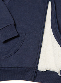 Navy Borg Lined Hoody (9 Months- 6 Years)