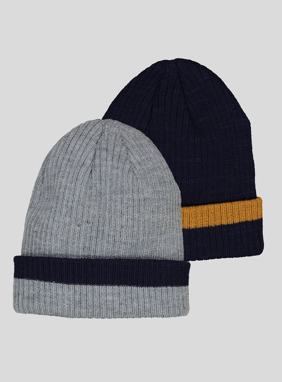 Kids Multicoloured Knitted Beanie Hats 2 Pack (1 - 9 years)  20ecd063a79