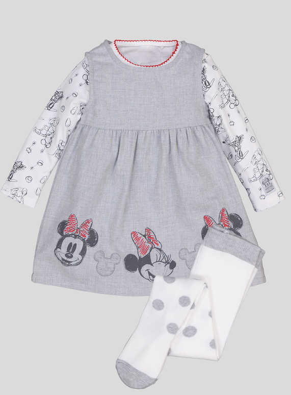 44b542d1c Baby Disney Minnie Mouse Grey Dress 3 Piece Set (0-24 Months) | Tu clothing