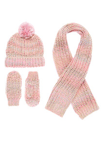 Pink and Gold Hat Scarf and Mitten Set (3 - 12 years)