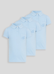 Girls Blue Embroidered Pocket Polo Shirts 3 Pack (2 - 12 years)