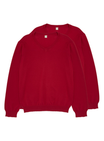 Unisex Red V Neck Jumpers 2 Pack (13-16 Years)